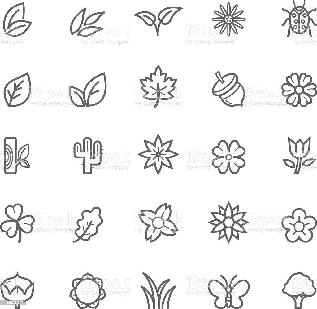 Set of Outline Stroke Natural Icons vector art illustration