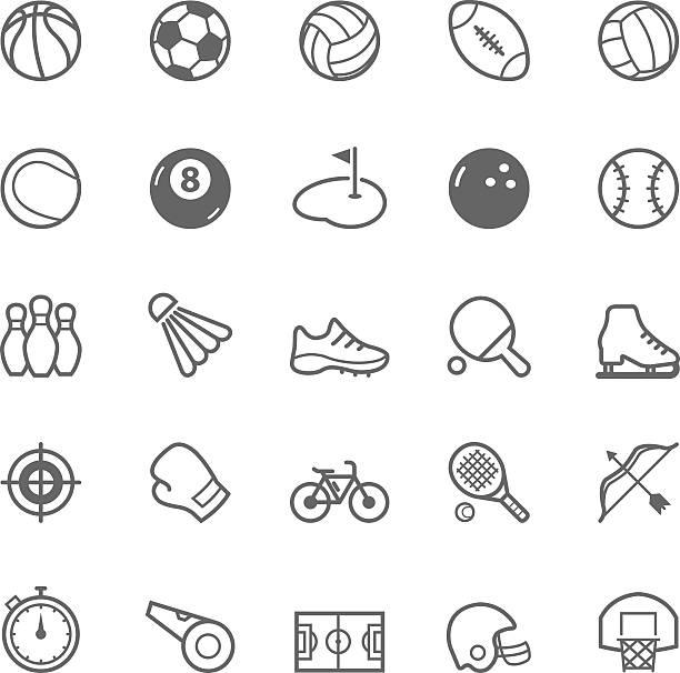 Set of Outline stroke Sport icon vector art illustration