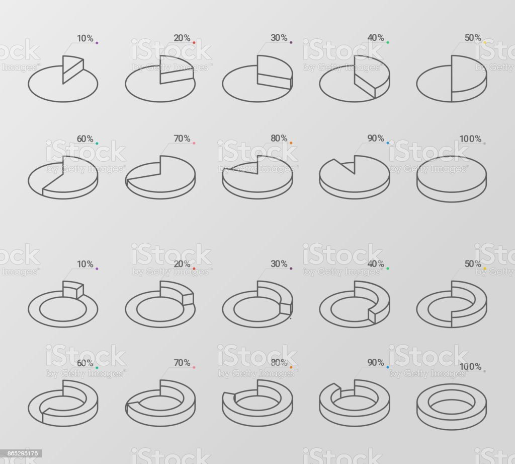 Set of outline style isometric circle diagrams vector art illustration