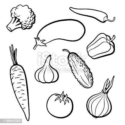 Set of outline vector vegetables. Broccoli, eggplant, hot chili pepper, carrot, garlic, cucumber, tomato, onion and sweet pepper