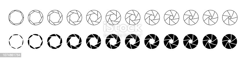 Set of outlined and silhouette lens aperture positions.