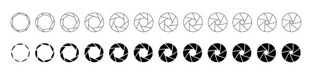 Set of outlined and silhouette lens aperture positions. Camera diaphragm stops for motion graphic animation Set of outlined and silhouette lens aperture positions. aperture stock illustrations