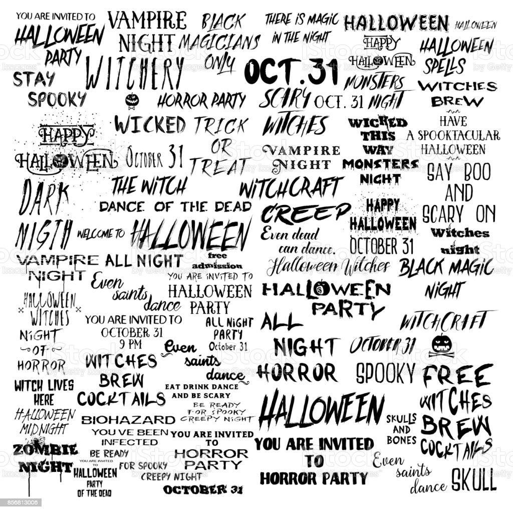 Set Of Over 50 Black And White Halloween Scary And Spooky Quotes About  Holiday, Horror