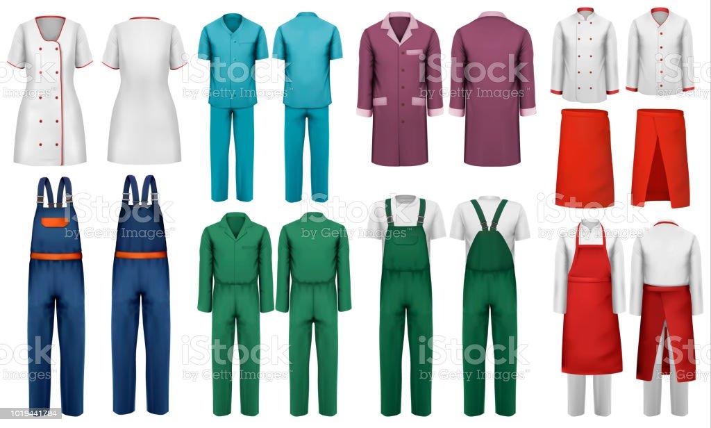 Uppsättning av overaller med arbetare och medicinska kläder. Formgivningsmall. Vektorillustration. - Royaltyfri Akademikeryrke vektorgrafik