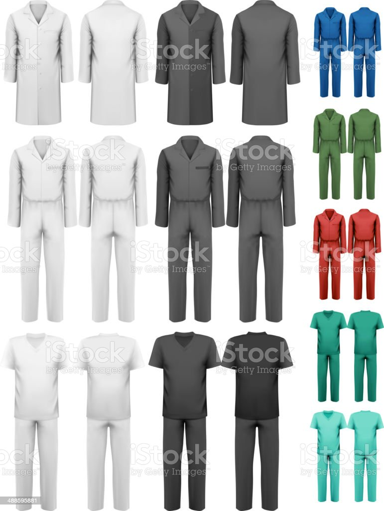 Set of overalls with worker and medical clothes. vector art illustration
