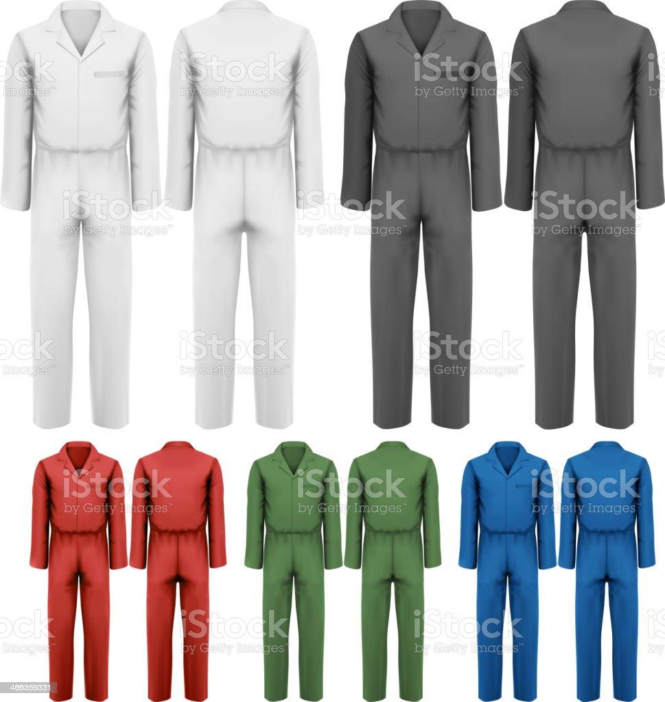 Set of overalls with worker. Design template. Vector illustratio vector art illustration