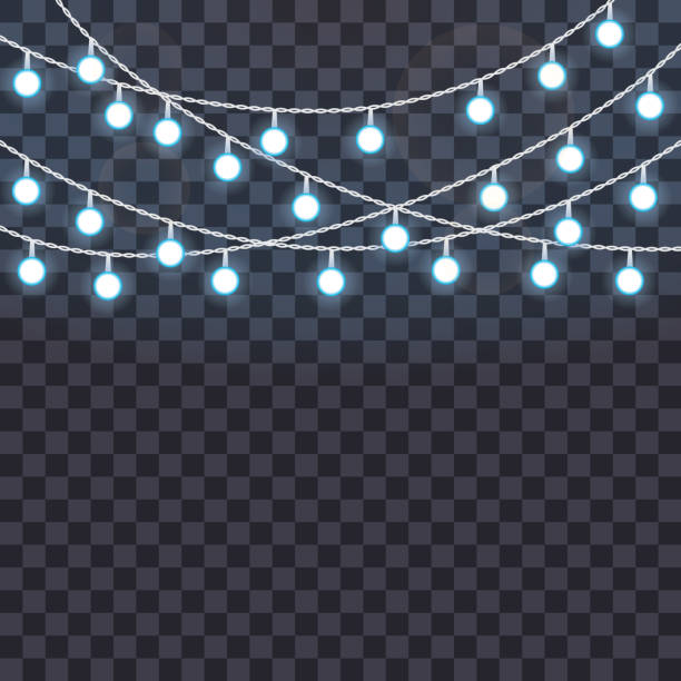 set of overlapping, glowing string lights on a transparent background. vector illustration - light strings stock illustrations, clip art, cartoons, & icons
