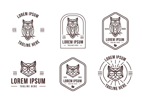 Set of owl icon vector with lineart design style