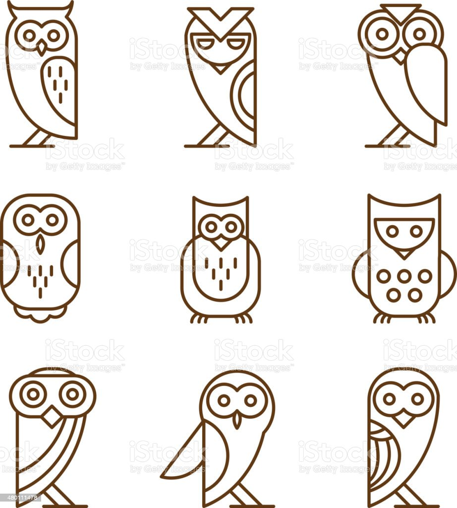 Set of Owl Logos and Emblems vector art illustration