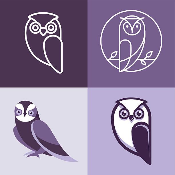 stockillustraties, clipart, cartoons en iconen met set of owl logos and emblems - uil