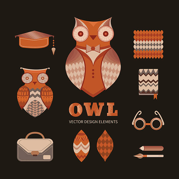 ilustrações de stock, clip art, desenhos animados e ícones de conjunto de owls - pena de pássaro algodão