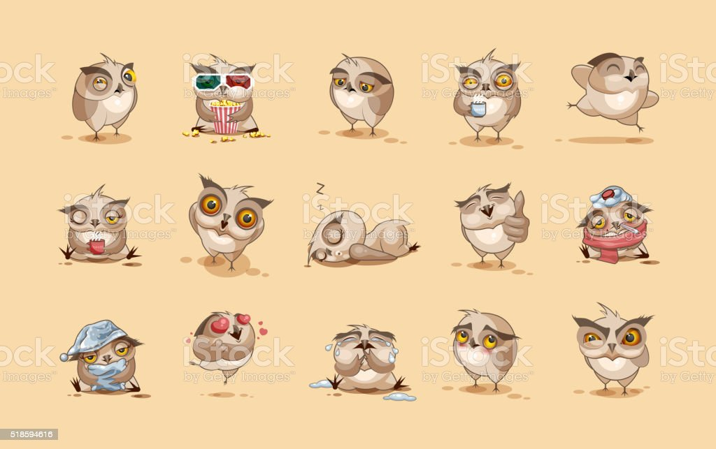 Set of Owls vector art illustration
