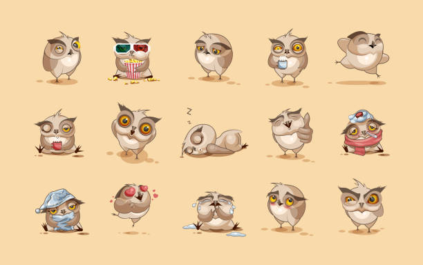 set of owls - tears of joy emoji stock illustrations