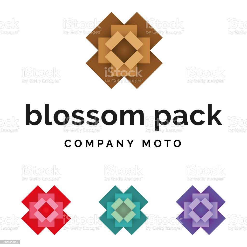 Set of packaging blossom logo identity - Royalty-free Blossom stock vector