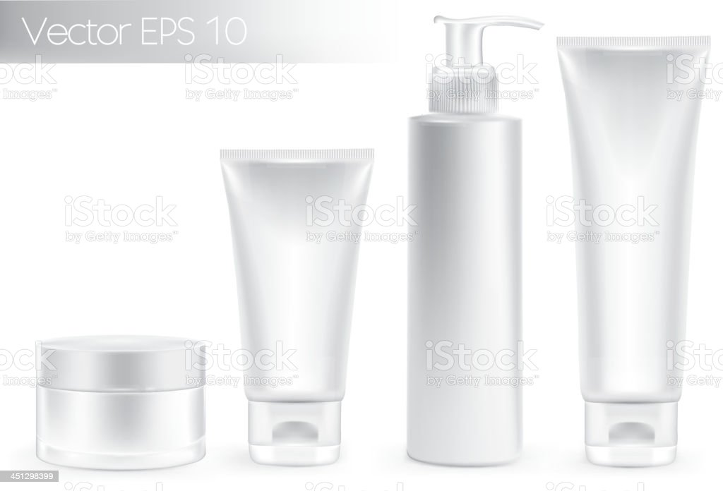 Set of packaging containers. White color. vector art illustration