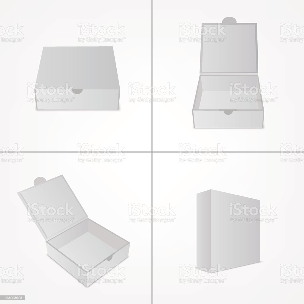 Set of packaging design mockup. Gray box in four views vector art illustration