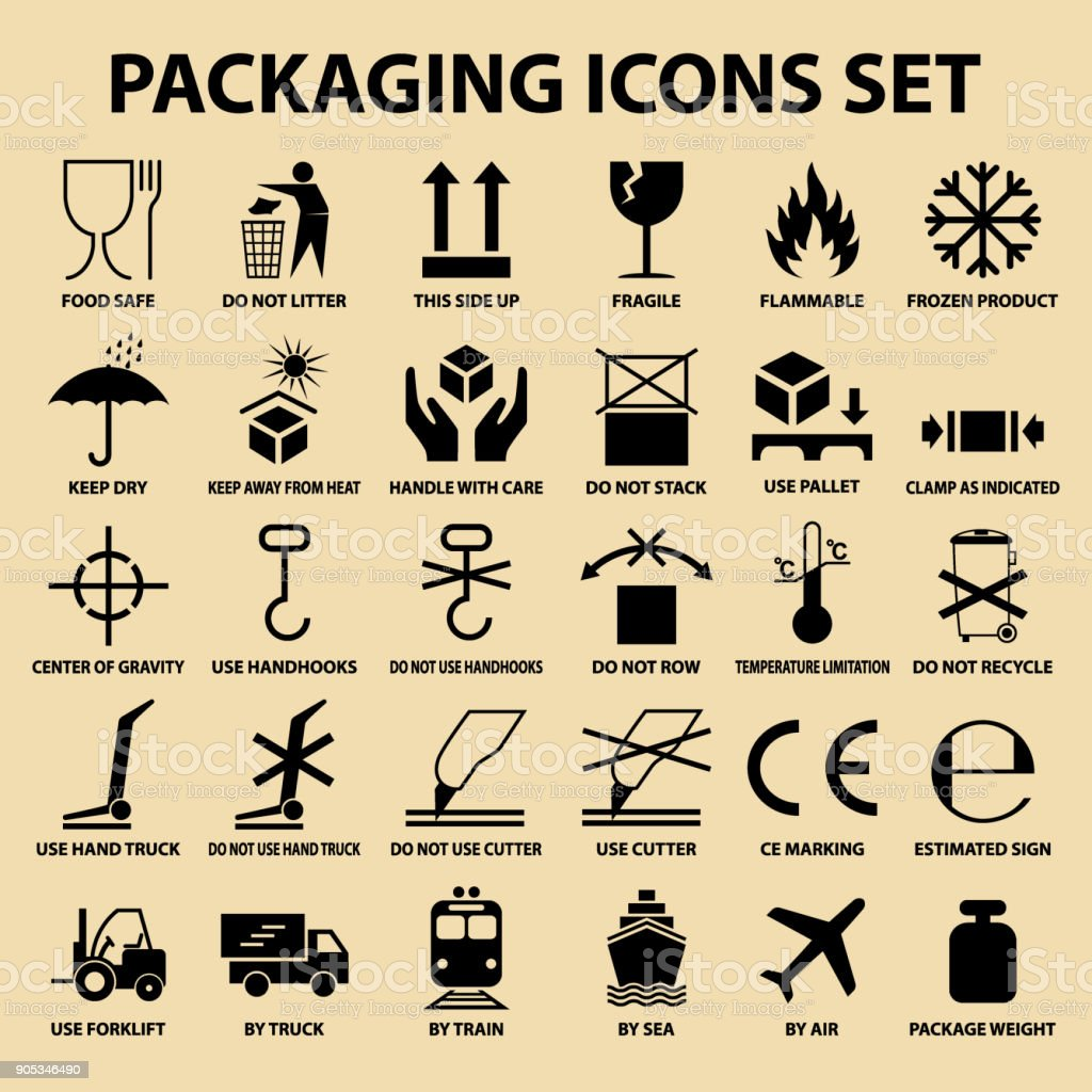 Set Of Packaging Icons Packing Cargo Labels Delivery Service Symbols