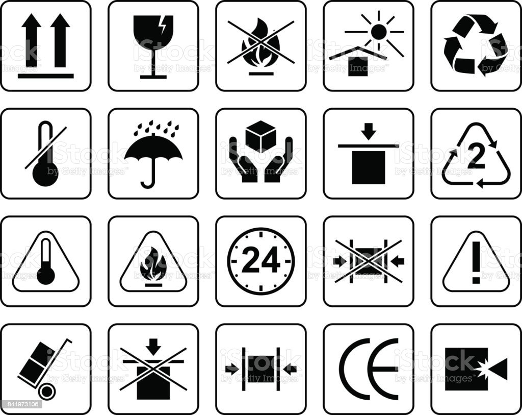 Set Of Packaging Symbols including fragile, to protect from the sun, processing, protected from moisture and other signs. Can be used on the packaging. royalty-free set of packaging symbols including fragile to protect from the sun processing protected from moisture and other signs can be used on the packaging stock illustration - download image now
