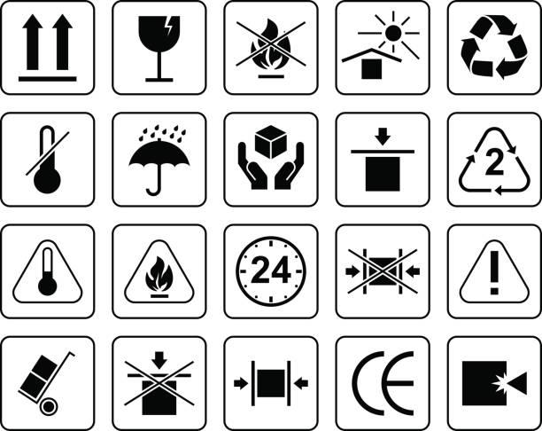 설정의 포장 기호 등 깨지기 쉬운, 처리, 태양 으로부터 보호 하기 위해 습기와 다른 신호 로부터 보호. 포장에 사용할 수 있습니다. - 취급 주의 표지판 stock illustrations