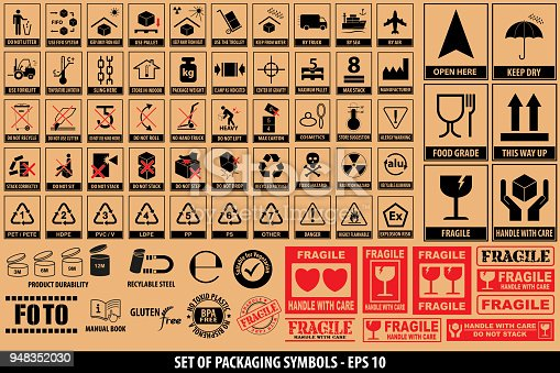 Set of packaging symbols, tableware, plastic, fragile symbols, cardboard symbols. ready for sticker, poster, and another printing materials. easy to modify.