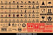 Set of packaging symbols, tableware, plastic, fragile symbols, cardboard symbols