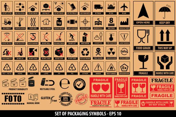 포장 기호, 식기, 플라스틱, 깨지기 쉬운 기호, 골 판지 기호 설정 - 취급 주의 표지판 stock illustrations