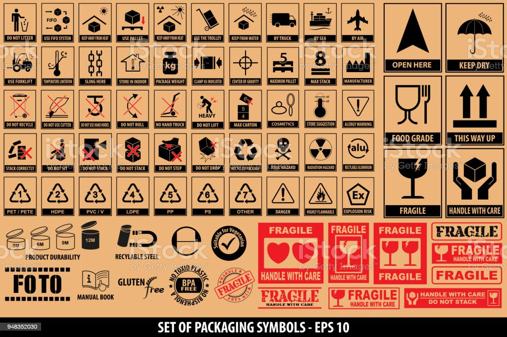Set of packaging symbols, tableware, plastic, fragile symbols, cardboard symbols vector art illustration