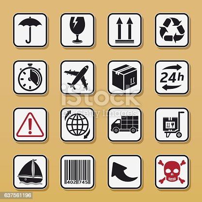Set of packaging symbols. Delivery icons set.