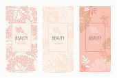 A set of packaging templates with floral texture for luxury products.