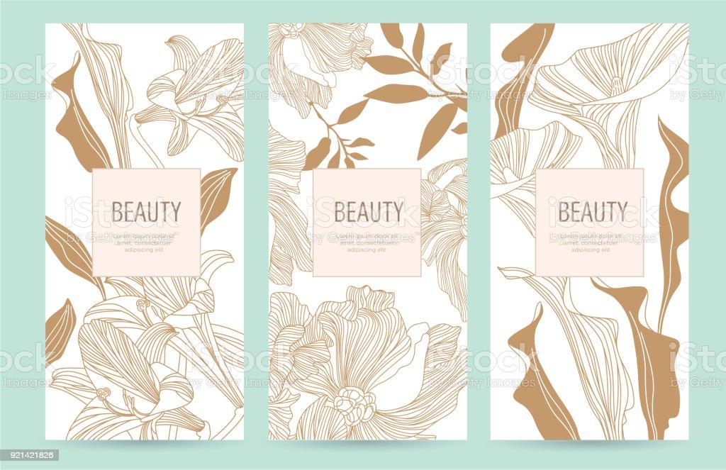 高級品の金の花のパッケージ テンプレートのセット ベクターアートイラスト