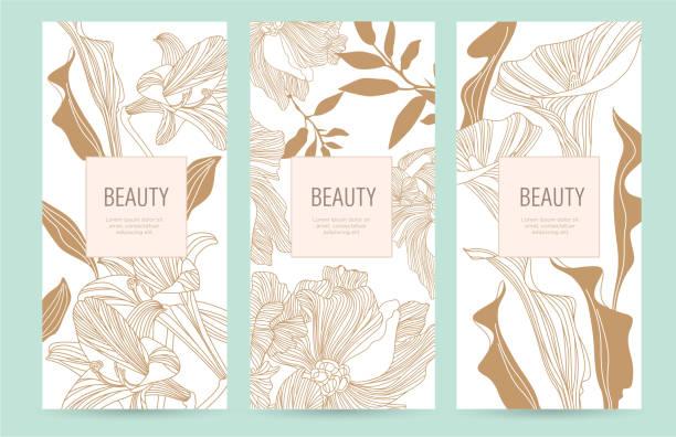 高級品の金の花のパッケージ テンプレートのセット - ファッション/ビューティ点のイラスト素材/クリップアート素材/マンガ素材/アイコン素材