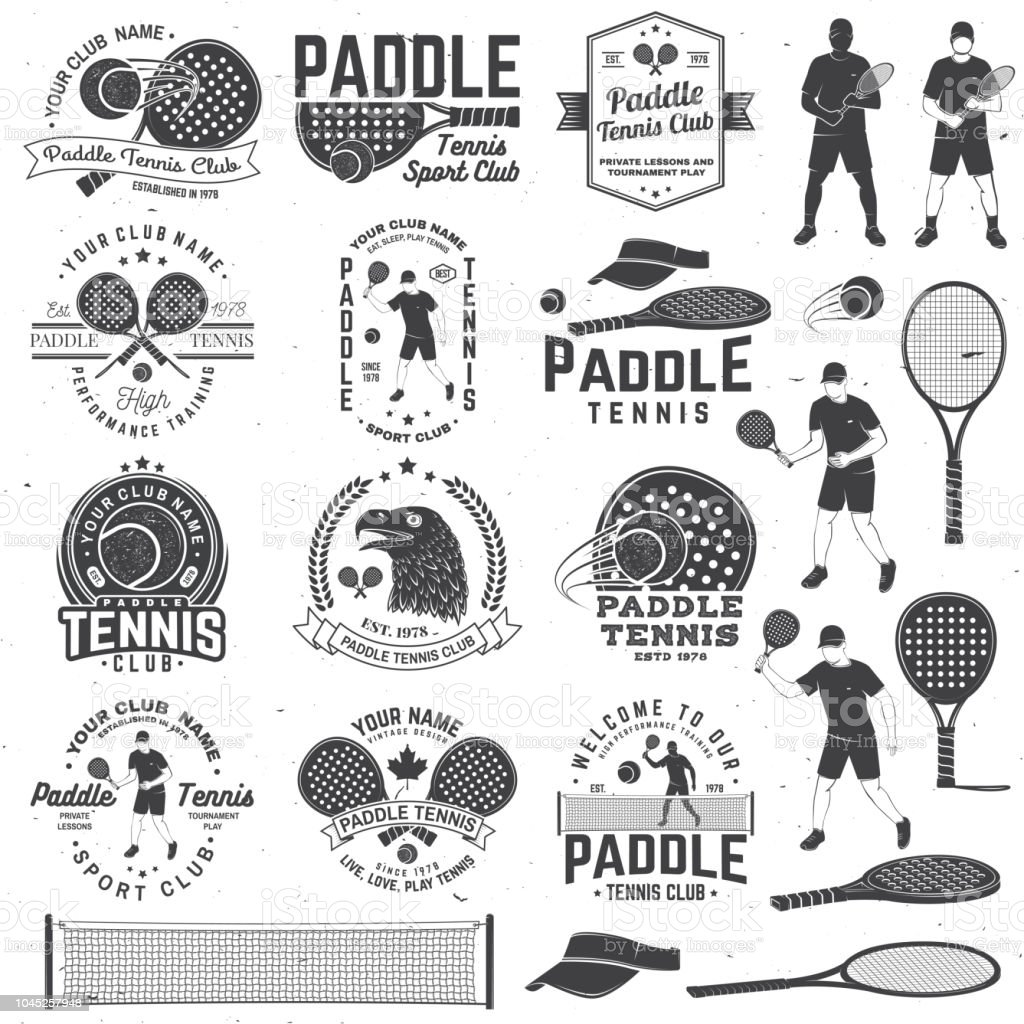 Set of Paddle tennis badge, emblem or sign. Vector illustration. Concept for shirt, print, stamp or tee. - Royalty-free 1970-1979 stock vector