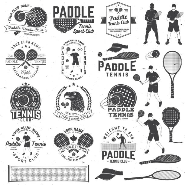 Set of Paddle tennis badge, emblem or sign. Vector illustration. Concept for shirt, print, stamp or tee. Set of Paddle tennis badge, emblem or sign with design element. Vector. Concept for shirt, print, stamp or tee. Vintage typography design with paddle tennis racket, visor and paddle ball silhouette. racket stock illustrations