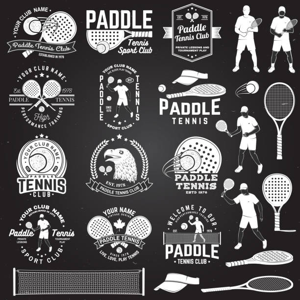 set of paddle tennis badge, emblem or sign. vector illustration. concept for shirt, print, stamp or tee. - paddle sports stock illustrations
