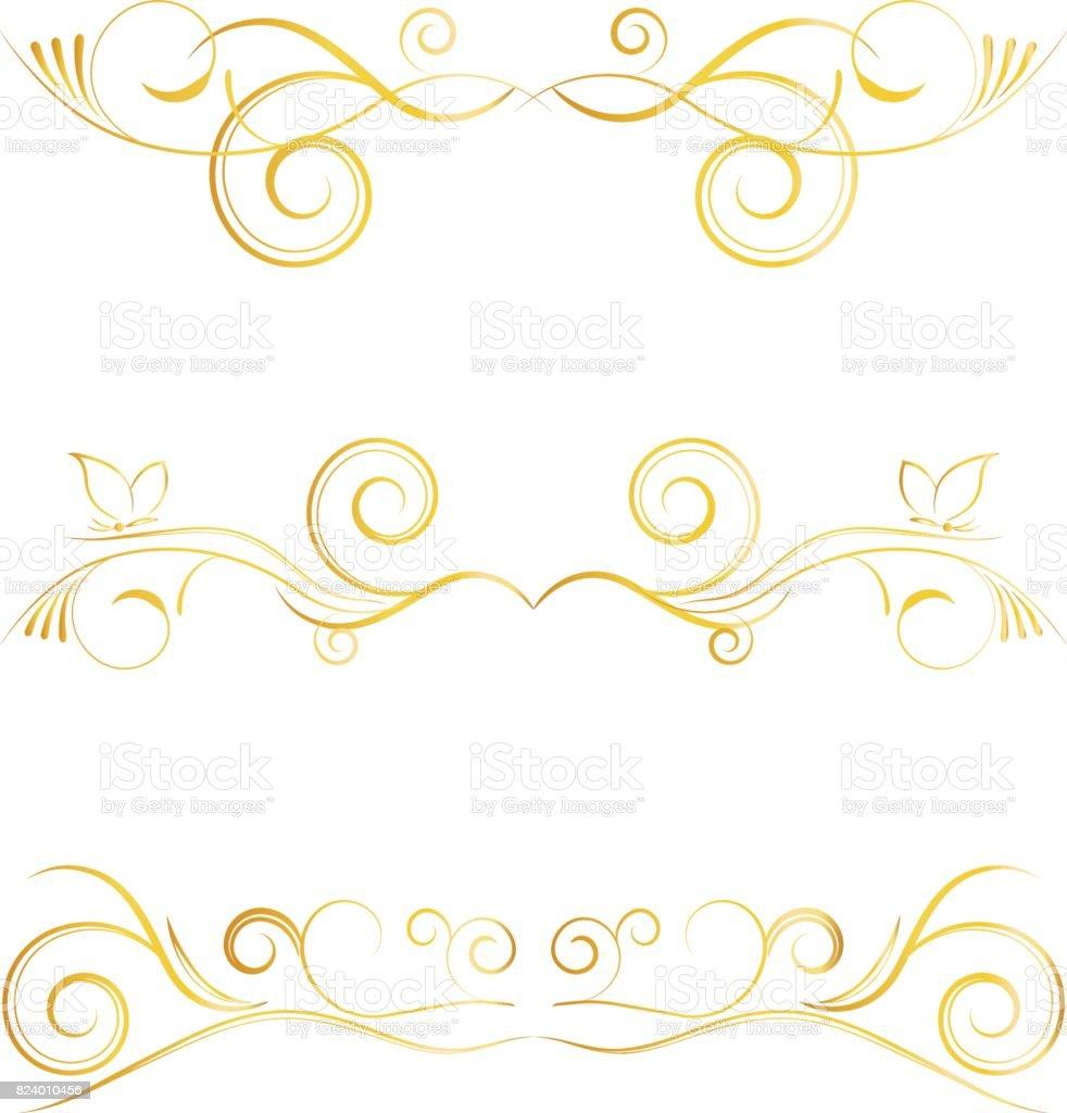 Conjunto de elementos de decoraci n dorada de p gina sobre for Pagina de decoracion