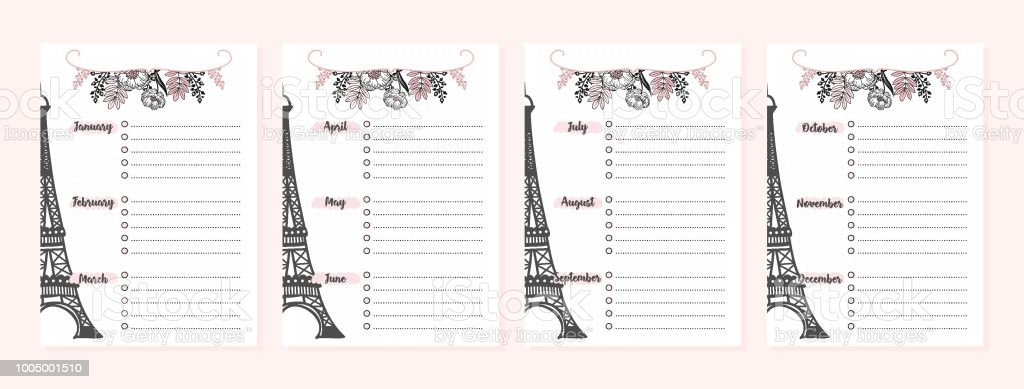 set of pages for monthly planner for study or workbackgrounds and