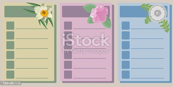 istock A set of pages of the planner, decorated with botanical illustrations 1331057172