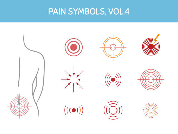 Set of pain markers for illustrations, medical and healthcare themed designs. Assorted icons showing pain focus, trigger points and painful areas of body vector art illustration
