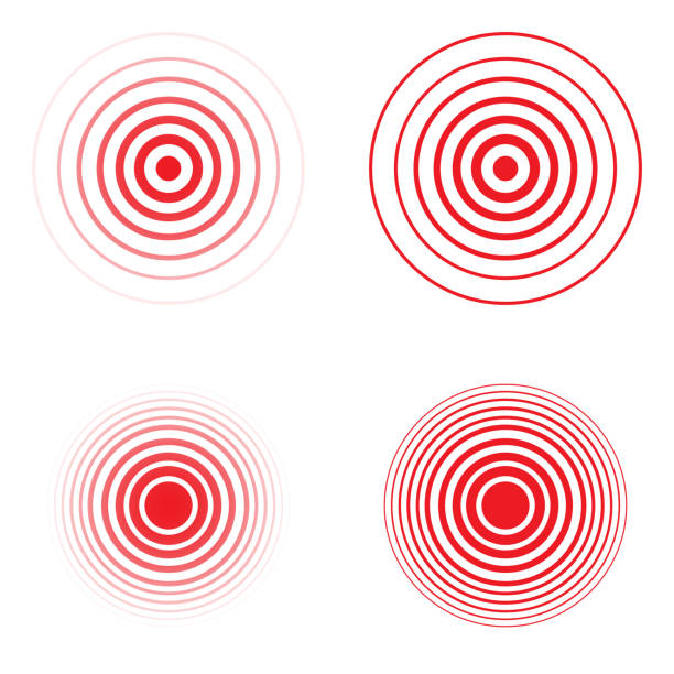 set of pain red circle - sine wave stock illustrations