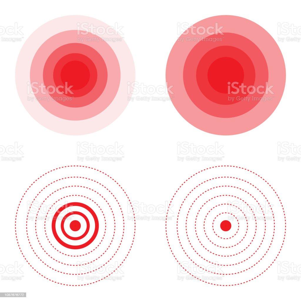 Set of pain red circle vector art illustration