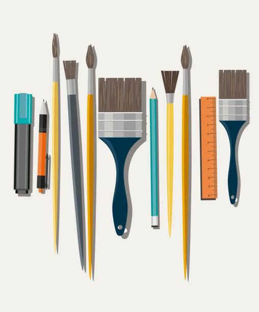 Set of paint brush on white background vector art illustration