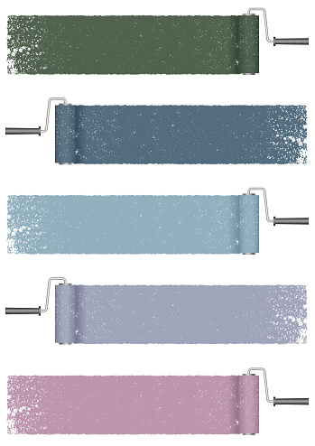 Set of paint roller abstract backgrounds isolated on a white background.