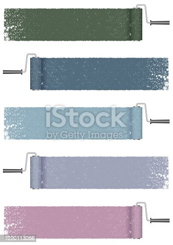 Set of paint roller abstract backgrounds isolated on a white background. Vector illustration.