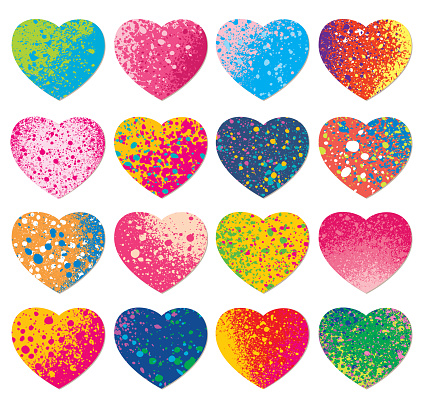 Set of paint spray textures heart shapes
