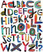 Set of painted alphabet letters