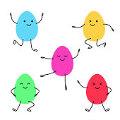 Set of painted easter eggs with faces. Colored eggs have fun and dance. Holiday egg. Vector isolated on white background