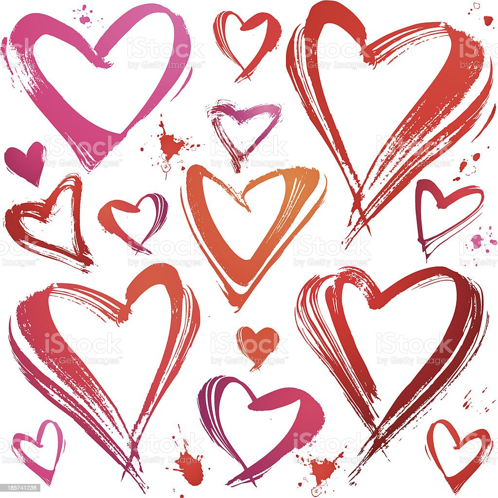 Set Of Painted Hearts, Grunge Style, hand drawing royalty-free stock vector art