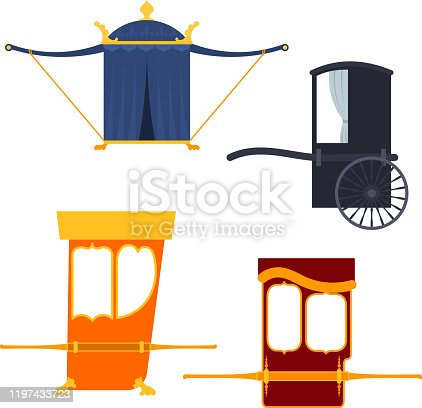 Set of palanquin in a flat style on a white background. Objects of antiquity. Retro transport. Vintage items isolated. Vector illustration