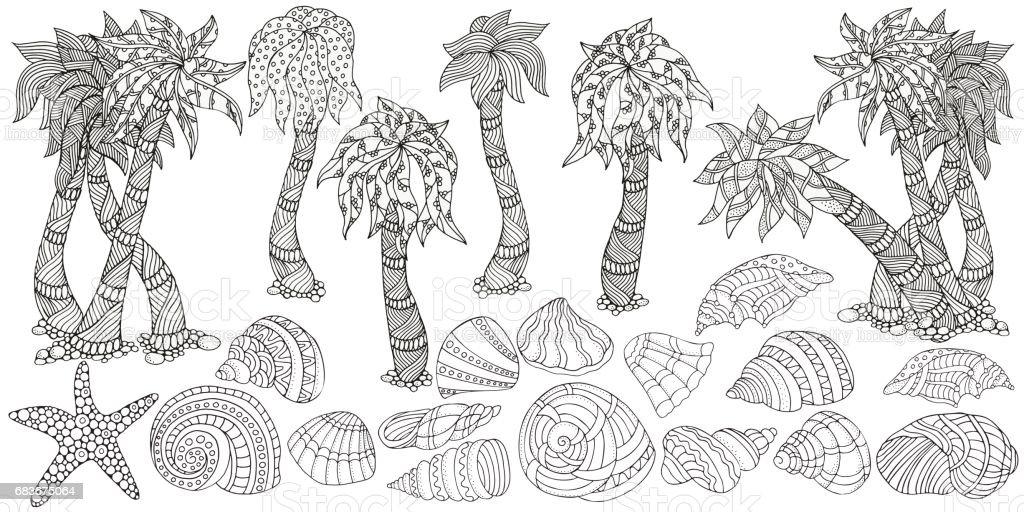 Avuç Içi Ve Deniz Kabukları Doodle Tarzı Kümesi Siyah Ve Beyaz