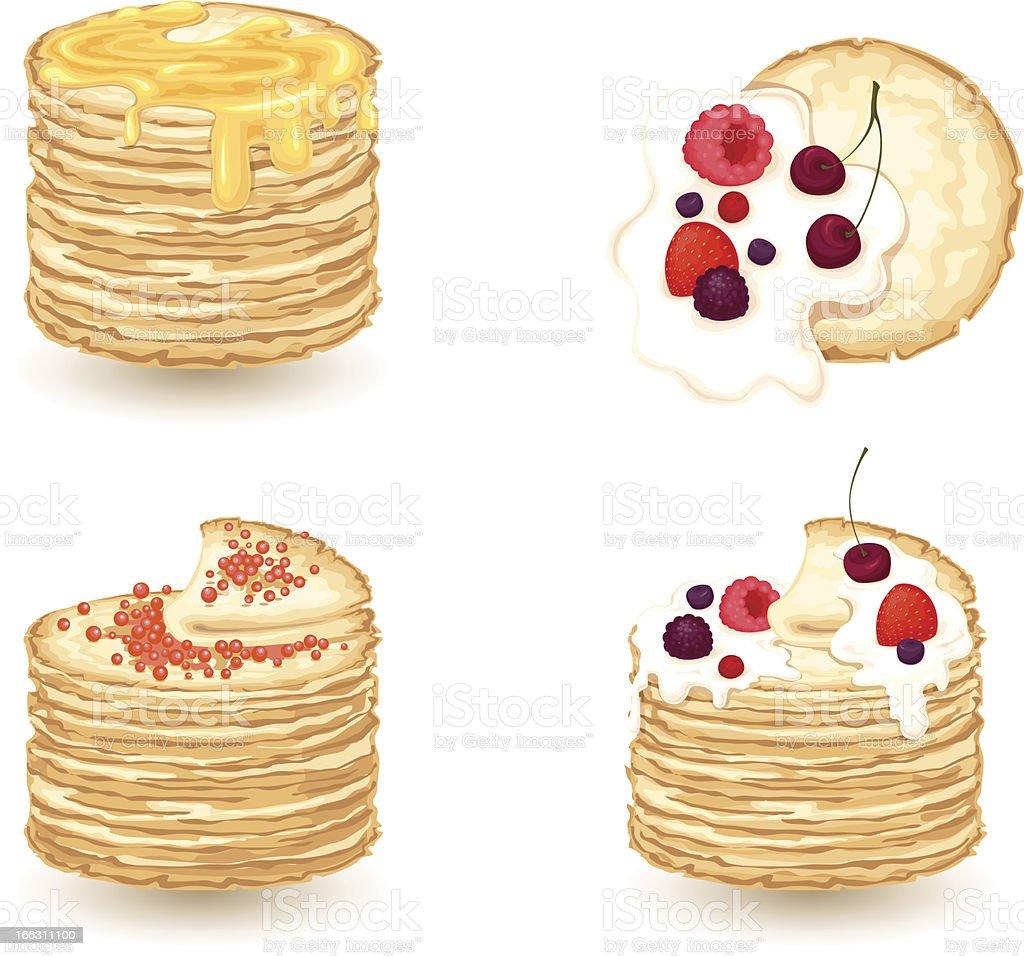 set of pancake royalty-free stock vector art
